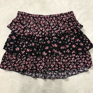 Justice Girls Black Floral Tiered Skirt- Size 10